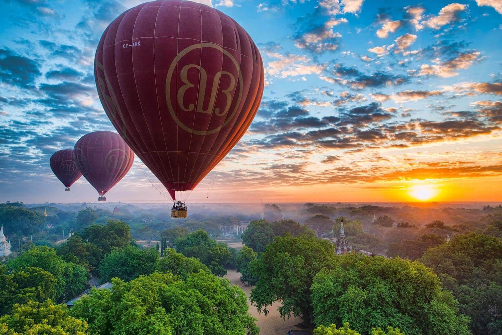 myanmar burma pagodas ballons